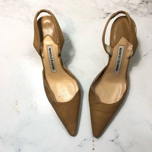 Authentic manolo blahnik sling-back kitty heels